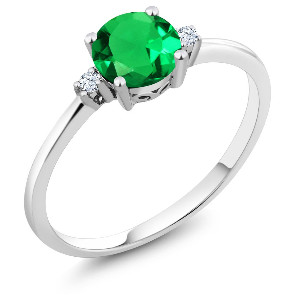 10K White Gold Engagement Solitaire Ring set with 0.80 Ct Round Green Simulated Emerald and White Created Sapphires