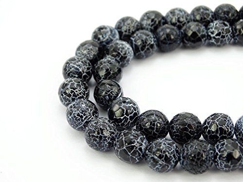jennysun2010 Natural Black Fire Crackle Agate Gemstone 10mm Faceted Round Loose 40pcs Beads 1 Strand for Bracelet Necklace Earrings Jewelry Making Crafts Design Healing
