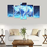Custom Custom Oil Painting Print Dark art psychedelic evil white tiger Canvas Print Bedroom Wall Canvas Decoration Hotel Fashion Design Wall Art 5 Piece Oil Paintings Canvas (No Frame)