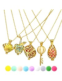 5pcs Mix Style Gold Heart ,Waterdrop Cage Essential Oils Aromatherapy Diffuser Locket Pendant Necklace