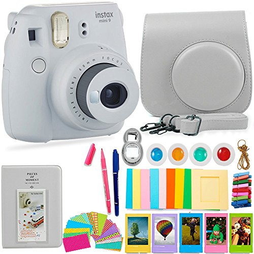 FujiFilm Instax Mini 9 Camera and Accessories Bundle - Instant Camera, Carrying Case, Color Filters, Photo Album, Stickers, Selfie Lens + MORE (Smokey White) from Deals Number One