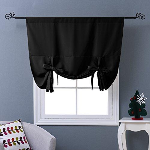 NICETOWN Blackout Curtain for Bathroom Windows - Adjustable Tie Up Shade Balloon Valance Blind (Rod Pocket Panel, 46