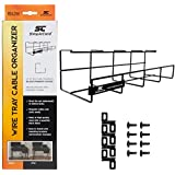 """Wire Tray Desk Cable Organizer - 32"""" Open Slot Raceway to hold Cables, Cords, or Wires on Desks - Office Cable Management (1 Pack)"""