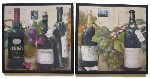 Wine & Champagne Bottles with Grapes, Kitchen Wall Decor Plaques, 2 Piece Sign Set