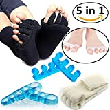 Toe Separators Set - 5 Pairs, Black White Toes Alignment Socks, Gel Toe Spacers Toe Stretchers, Instant Therapeutic Bunion Relief for Women and Men