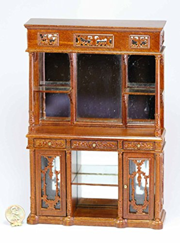 Dollhouse Miniature Ornate Victorian Mirrored Wall Cabinet in Walnut Clearance (Walnut Cabinet Victorian)