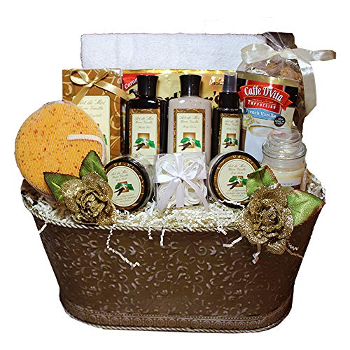 Essence of Luxury Warm Vanilla Spa Bath & Body Gift Basket Set