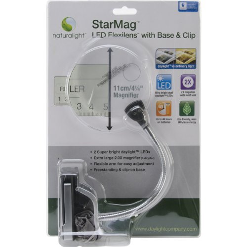 Daylight UN1161 Naturalight StarMag LED Flexilens with Base and Clip, - Optical Black White Hours And