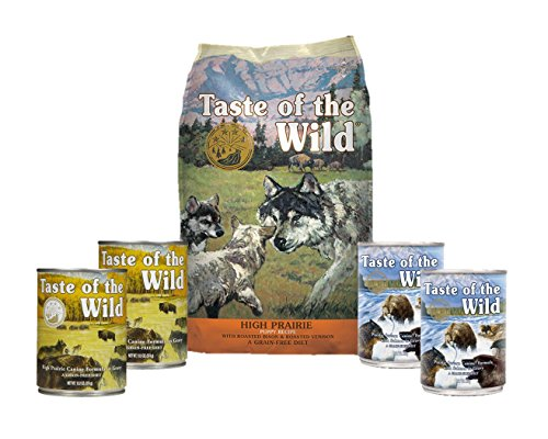 Taste Of The Wild Dog-Food High Prairie Puppy Food Grain Free 6 Pack 1 Bag 4 Cans & 1 Lid