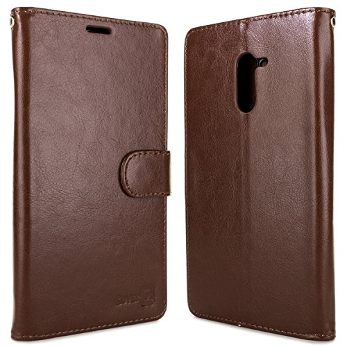 ZTE Grand X Max 2 Wallet Case, ZTE Max Duo LTE Case, CoverON® CarryAll Series Synthetic Leather Flip Folio Card Holder Slim Phone Cover Case for ZTE Grand X Max 2 / Max Duo LTE - Brown