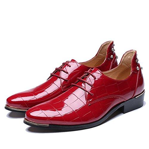 Comfort Classico Scarpe Pelle per Elegante velluto Stivali Piedi Martin Style Scarpa Vestito rosso con Scarpa pelle Oxfords uomo British Affari di Inverno in Punta Sintetica uomo mocassini Pelle Casual nxq6Yw4TO