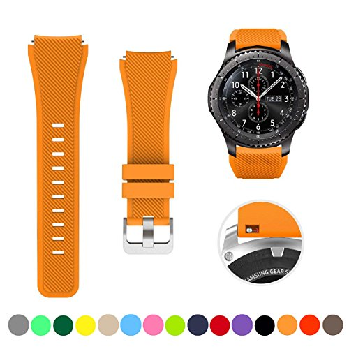 (Minggo Bands for Samsung Gear S3 Frontier/Classic Watch Silicone Bracelet, Sports Silicone Band Strap Replacement Wristband for Samsung Gear S3 Frontier/S3 Classic (Orange))