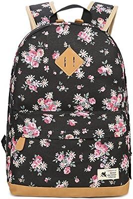 Gudelaa Mochila de Lona Estudiante Femenino Mochila Patrón Floral Bolso de la Computadora Mochila de Viaje Mochila para Niñas
