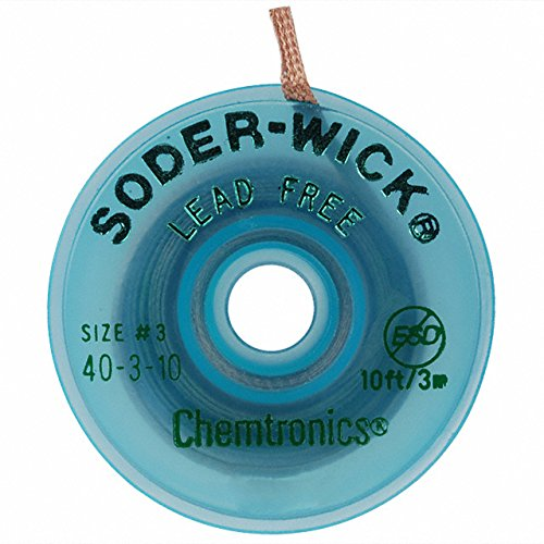 ck #40 Green No Clean Flux Core Desoldering Wick or Braid - Lead-Free Lead - 10 ft Length - 0.08 in Diameter - No Clean Flux Core - 40-3-10 [PRICE is per EACH] (10' Length Lead)