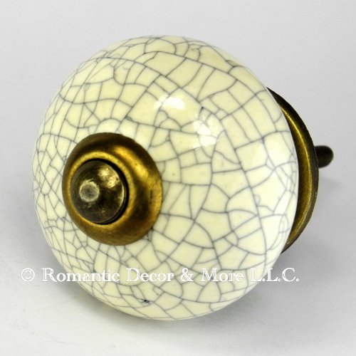 Ivory Crackle Ceramic Knob, Kitchen Drawer Pulls & Handles Set/6pc ~ C19RR Hand Glazed Vintage Ceramic Knobs with Antique Brass Hardware for Dresser Drawers, Cabinets & Vanity