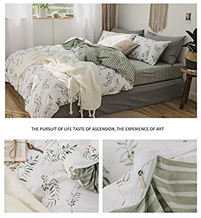 XUKEJU Flower Duvet Cover for Boys//Girls 3 pcs Bedding Set Kids//Adults Plants Leaves Printing Patterns Cotton Soft Floral Comforter Cover Flower #4 Full Queen Size ELA016ST4-Q