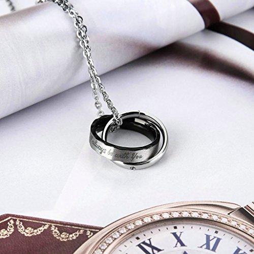 6d96868be14f Beydodo Collar Colgante de Hombre Acero Inoxidable Forma Anillo Color Plata  Negro Collar Para Hombre 60