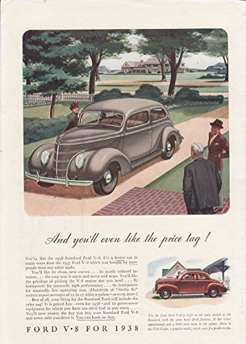- And you'll even like the price tag! Ford V-8 Tudor & Coupe ad 1938 BHG