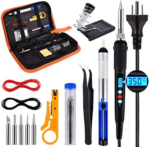 Soldering Iron Kit, 60W Adjustable Temperature Welding Iron with LCD Display, ON/OFF Switch, 180-500℃, 5Pcs Soldering Iron Tips, Desoldering Pump, Tweezers, Stand, Solder, PU Storage Bag