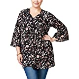 Style & Co. Womens Plus Floral Print Bell Sleeves Tunic Top Black 2X