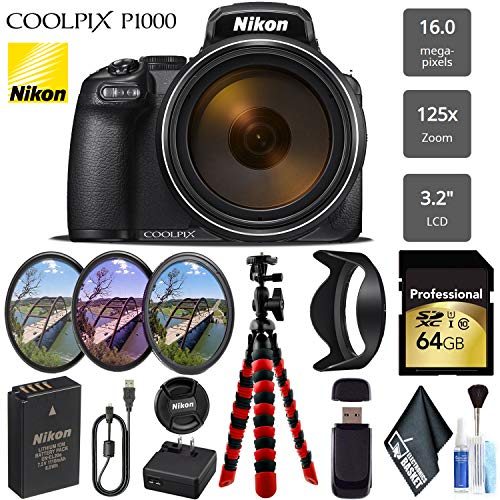 Nikon COOLPIX P1000 Digital Camera 16MP 125x Optical Zoom & Build in Wi-Fi + UV CP FLD Filter Kit – International Version