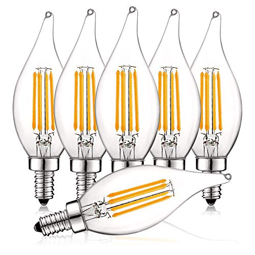 (Luxrite 4W Vintage Candelabra LED Bulbs Dimmable, 430 Lumens, 2700K Warm White, E12 LED Bulb 40W Equivalent, Flame Tip Clear Glass, Edison Filament LED Candle Bulb, UL Listed (6 Pack))