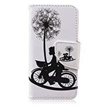 iPod Touch 5 Gen Case, iPod Touch 6 Gen Case Easytop Fashion Style Premium PU Leather Wallet Type Magnet Design Flip Case Cover with Built-in Card Slots, Cash Pocket (Young Boy Girl Ride Bike)