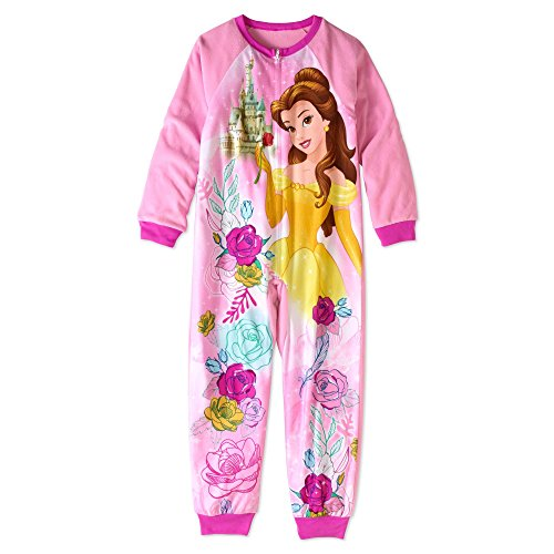 Disney Beauty and The Beast Princess Belle Little and Big Girls Sleeper Pajamas (Pink, - Sleeper Fleece Disney