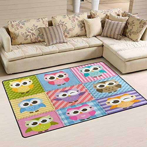 WOZO Colorful Funny Owl Plaid Area Rug Rugs Non-Slip Floor Mat Doormats Living Room Bedroom 60 x 39 inches