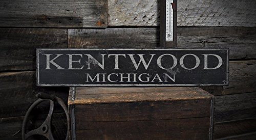 KENTWOOD, MICHIGAN - Rustic Hand-Made Vintage Wooden USA City Sign - 5.5 x 24 Inches (City Of Kentwood Michigan)