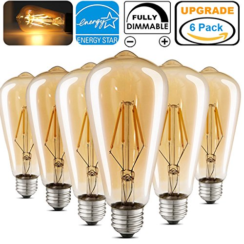 LED Edison Light Bulb Dimmable Antique Decorative Light Bulbs Amber ST64 4W (40W Equivalent) E26 Medium Base Squirrel Cage LED Bulbs Warm White 2700K for Wall Sconces Pendant Lighting Pack of 6