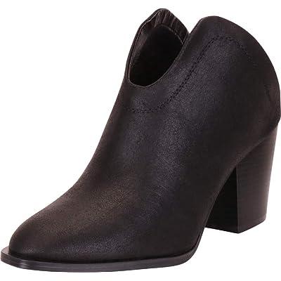 Cambridge Select Women's Western Pointed Toe Open Back Slip-On Chunky Block Mid Heel Mule Shootie | Mules & Clogs