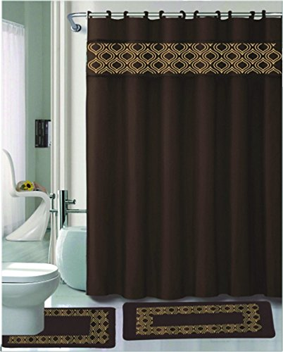 (Kashi Home Gabrielle 15 Piece Shower Set, Chocolate)