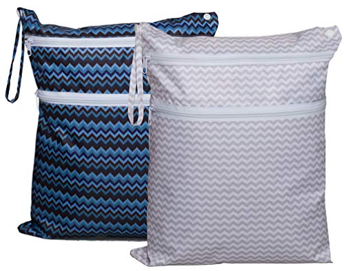 Waterproof Wet Dry Bag Reusable Cloth Diaper Bag with 2 Zippered Pockets and Snap Handle for Swimsuit, Bathing Suit in Travel, Gym (Gray Chevron and Blue Chevron)