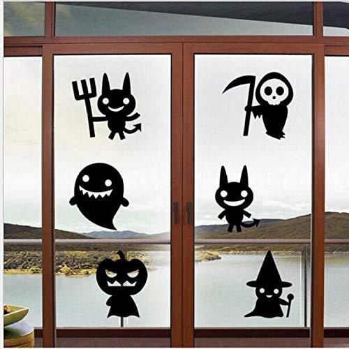 xiaomeihao Happy Halloween Wall Sticker Simple Black Cute Cartoon Ghost Cat Witch Pumpkin Head Pattern Home Decoration Wall Sticker 77X67Cm]()