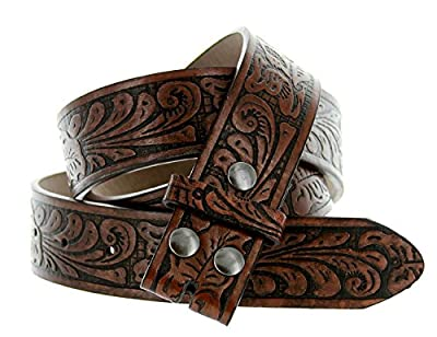 "Western Embossed Tooled Floral Leather Snap On Belt Strap 38mm 1-1/2"" (S (32""), Brown)"
