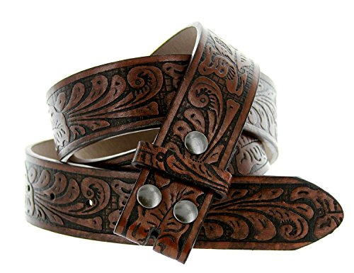 Brown Leather Western Belt (Western Embossed Tooled Floral Leather Snap On Belt Strap 38mm 1-1/2