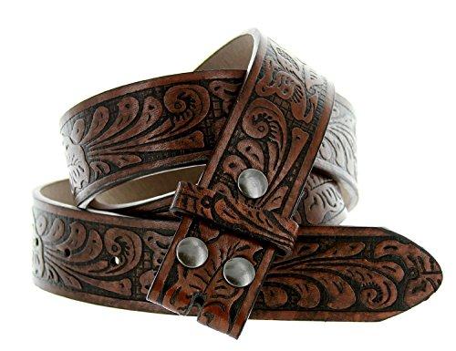 Western Embossed Tooled Floral Leather Snap On Belt Strap 38mm 1-1/2