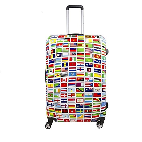 DH Multi Color World Flags Countries Theme Hardtop Luggage All Country Travel Worldwide Flags Themed Pattern Upright Rolling Lightweight Hardside Hardshell Carry On Suitcase Blue Red Orange Yellow by DH
