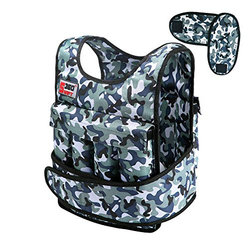 Swift360 Weighted Vest for Men 40lbs Adjustable Female Fitness Gear Cross-fit Training Exercise Camouflage (with Shoulder Pads) ()