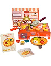 TOP BRIGHT Pizza Speelset - Houten Pizza Speelgoed voor Peuters Kinderen vanaf 3 Jaar - Inclusief Oven, 16 Toppings, Menu - Helpt Fijne Motoriek, Creativiteit en Cognitieve Vaardigheden te Ontwikkelen