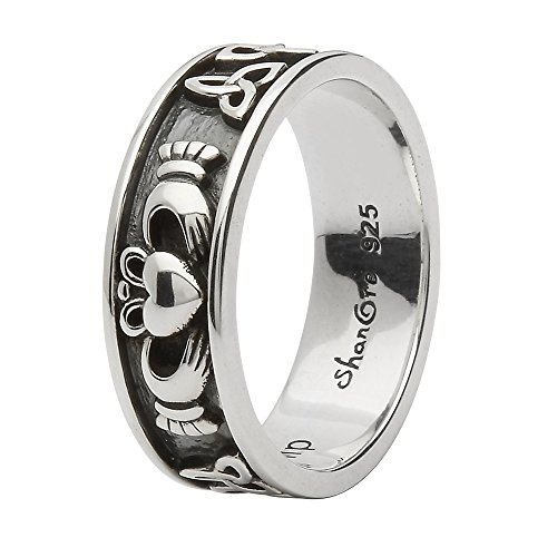 Unisex Sterling Silver Claddagh and Trinity Wedding Ring (12)