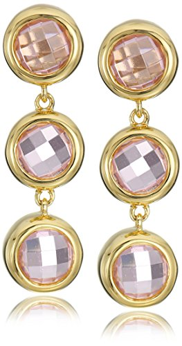 terling Silver Pink Cubic Zirconia Contemporary Bezel Set Design Drop Earrings (Contemporary Bezel Set)