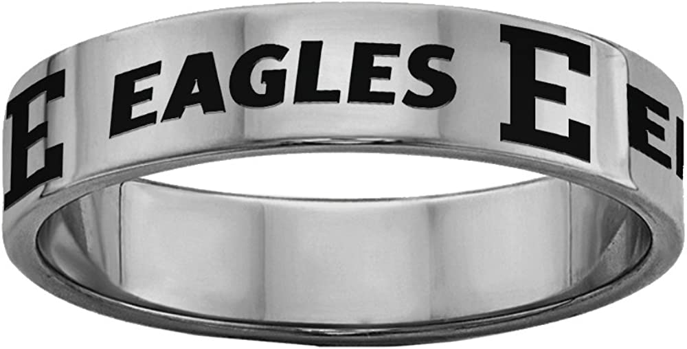 Eastern Michigan Eagles Rings Stainless Steel 8MM Wide Ring Band Full Logo Style