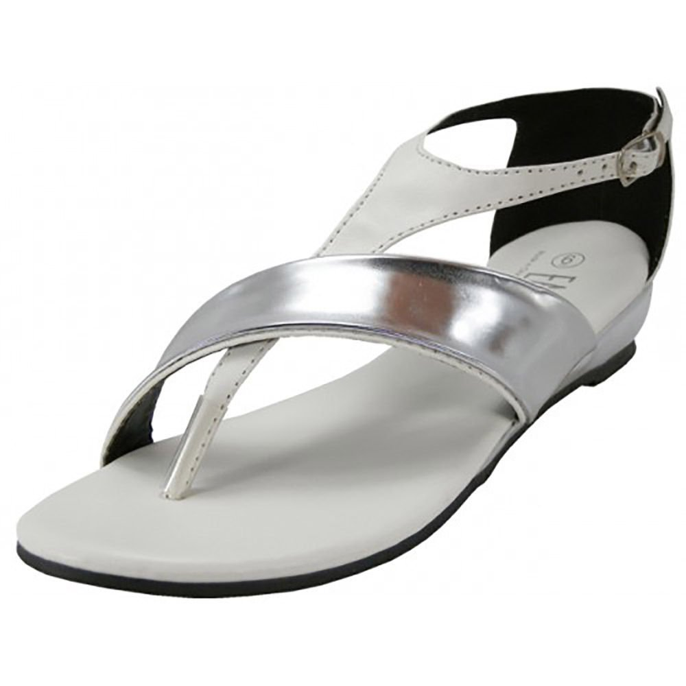 Low Wedge T Strap Sandals Metallic Mirror Silver Accent Black White B01N33THPK 6 B(M) US|White