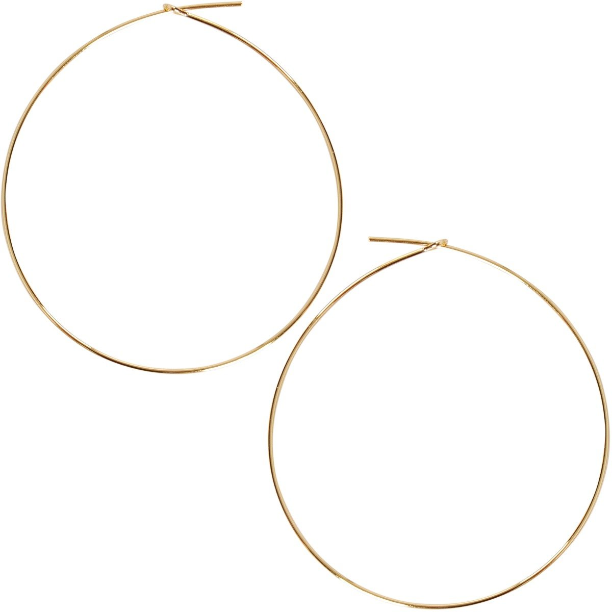 Humble Chic Round Hoop Earrings - Hypoallergenic Lightweight Wire Threader Loop Drop Dangles for Women, Safe for Sensitive Ears, Large 18K Yellow, Gold-Electroplated, 2''