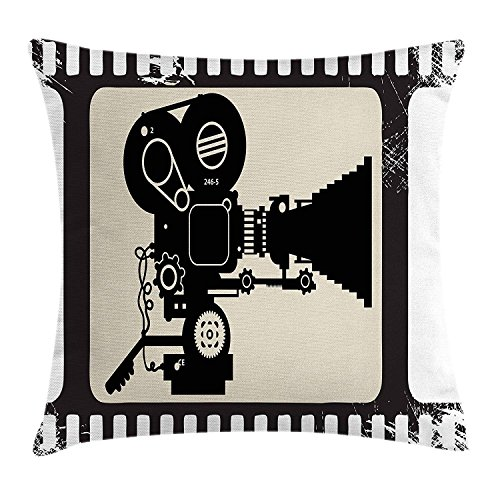 best bags Movie Theater Throw Pillow Cushion Cover, Movie Frame Pattern Silhouette Movie Reels in a Projector, Decorative Square Accent Pillow Case, 18 X 18 Inches, Dark Taupe Beige Black - Euro Black Frame Square