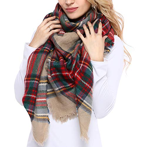 (Bess Bridal Women's Plaid Blanket Winter Scarf Warm Cozy Tartan Wrap Oversized Shawl Cape (One Size, Camel))