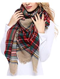 Women's Plaid Blanket Winter Scarf Warm Cozy Tartan Wrap...
