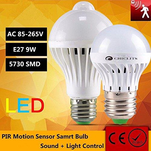 TIANLIANG04 bombillas LED Sensor De Movimiento Led Bombilla Lampara Luz Led 110V 220V E27 9W Sonido ...